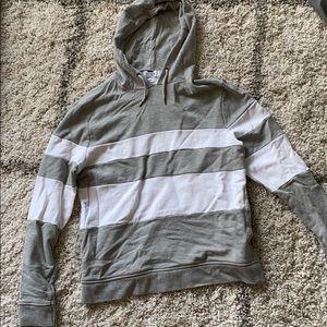 Topman Gray/White stripe color block hoodie size M
